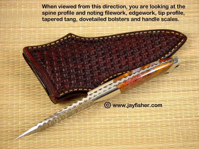 Knife anatomy, sides, views: spine view, tapered tang, filework, edgework, dovetailed bolsters and handle scales