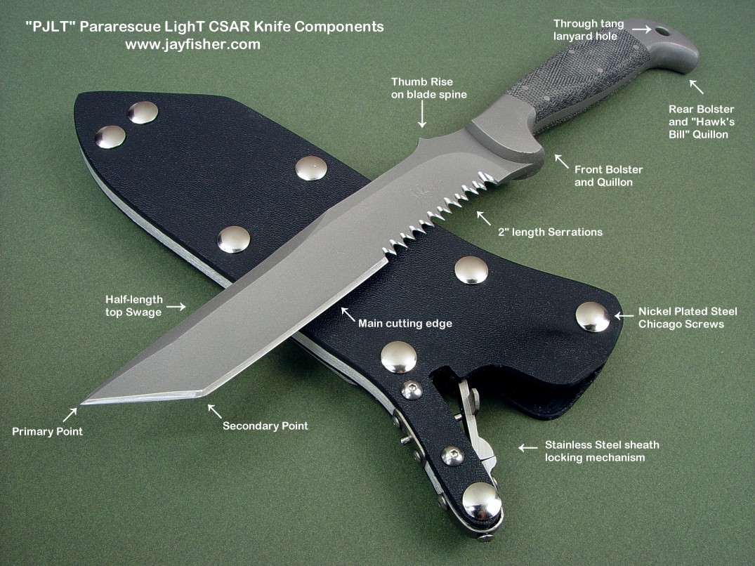 Components of the PJLT CSAR professional tactical knife