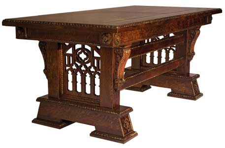 Custom Solid Quarter Sawn Oak Gothic Library Table (Desk) by Artisans of the Valley