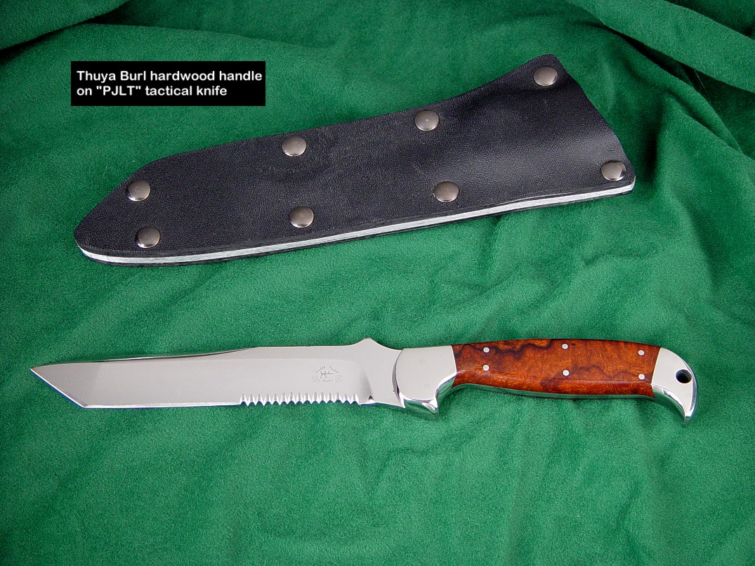 Thuya Burl is a hard, tough, and durable knife handle material