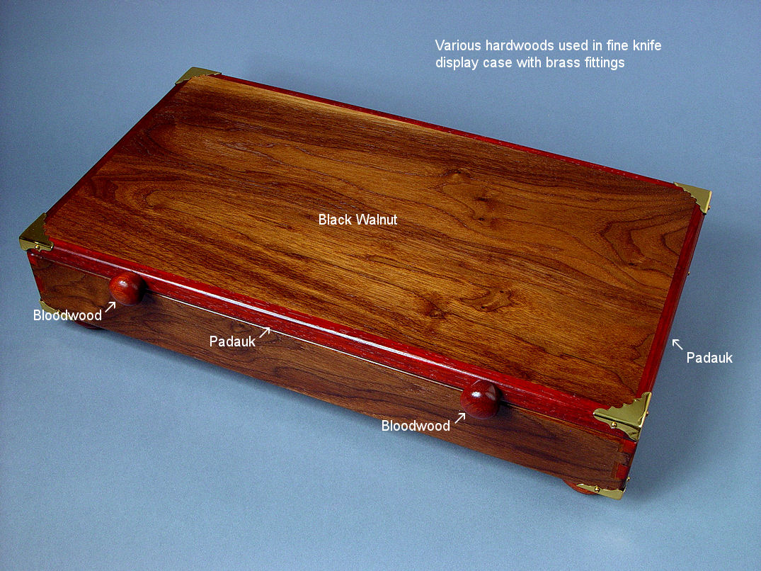 Various hardwoods used in knife display and presentation case: American Black Walnut, Bloodwood, Padauk