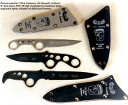 Skeletonized knives made for 101st Airborne for Operation Iraqi Freedom with tension fit engraved sheaths. Knives are blued O1 and ATS-34 stainless steel