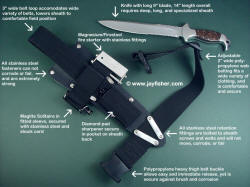 """Macha EL"" with text descriptions of accessory package components, sheath belt loop extender"