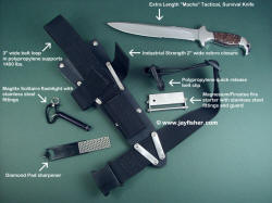 """Macha EL"" with text descriptions and details of accessory package for custom jungle knife"