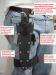 Wear position of long knife sheath with ultimate belt loop extender and thigh belt retention