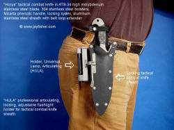 """Horus"" and HULA accessory use and operation on locking tactical combat knife sheath"