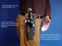 Illustration of aiming options for HULA tactical, rescue flashlight holder mounted on locking knife sheath
