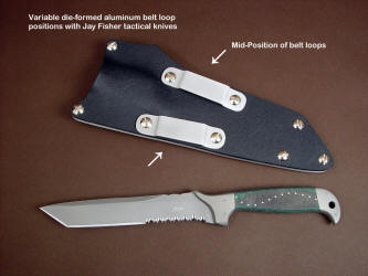 The middle positon of belt loop placment on tension fit kydex, aluminum, and nickel plated steel sheath. This allows a mid to high orientation on a typical belt line