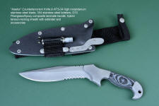 """Alastor"" Tactical, Combat, counter terrorism knife, obverse side view in ATS-34 high molybdenum stainless steel blade, 304 stainless steel bolsters, Black/Gray G10 fiberglass/epoxy composite laminate handle, hybrid tension-locking sheath in kydex, aluminum, stainless steel, titanium"