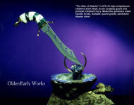 """Altar of Atlantis"" in ATS-34 high molybdenum stainless steel blade, carved brass fittings, Elephant ivory and Malachite gemstone handle, stand of brass, sodalite gemstone, quartz geode, sandstone base"