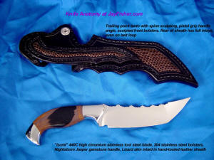 """Izumi"" Tanto blade knife: mirror polished 440C high chromium stainless steel blade, 304 stainless steel bolsters, Nightstorm jasper gemstone handle, lizard inlaid in leather sheath"
