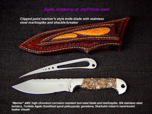 Knife anatomy, parts, names, components; sailor's knife witn a clip point blade, serrations, bolsters, lanard hole, and accessory marlinspike with shackle breaker in sharkskin sheath