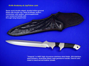 """Vespula"" obverse side view: 440C high chromium stainless steel blade, 304 stainless steel bolsters, Australian Black Jade gemstone handle, Ostrich leg skin inlaid in hand-carved leather sheath"