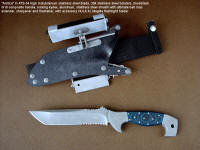 """Arctica"" obverse side view in ATS-34 high molybdenum stainless steel blade, 304 stainless steel bolsters, blue/black G10 fiberglass/epoxy composite handle, locking kydex, aluminum, stainless steel sheath with ultimate belt loop extender, firestarter, sharpener, and HULA advanced flashlight holder"