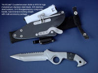 """Ari B'Lilah"" Tactical Combat Counter-Terrorism Knife, obverse side view in ATS-34 high molybdenum stainless steel blade, 304 stainless steel bolsters, G10 composite handle, tension-locking sheath of kydex, aluminum, stainless steel, titanium, ultimate belt loop extender"