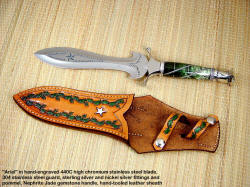 """Ariel"" custom Athane Dagger in hand-engraved 440C high chromioum stainless steel blade, sterling silver and nickel silver in fluted twist Nephrite Jade gemstone handle, pommel if 304 stainless steel and Italian green goldstone gemstone handle, hand-tooled leather sheath"