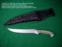 """Astarion"" 440C high chromium stainless steel blade, 304 hand-engraved stainless steel bolsters, Nephrite Jade/Moss Agate doublet gemstone handle, carved and inlaid sheath of ostrich leg inlaid in hand-tooled leather"