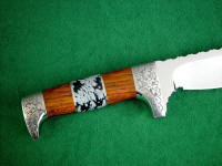 Hand-engraved 304 stainless steel guard and pommel with Cocobolo hardwood and Snowflake Obsidian Gemstone knife handle