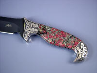 Deep relief engraving on 304 stainless steel bolsters with Eudialite gemstone handle of collector's fine knife