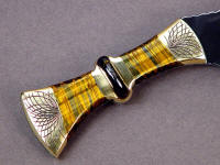 Hand-engraved brass bolsters with golden Tiger Eye Quartz gemstone and inlaid Australian Tiger Iron Gemstone on knife handle