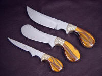 Engraved brass bolsters with tigereye quartz gemstone palm knife handles