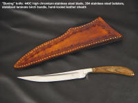 """Boning"" knife: satin finished 440C Stainless, hollow ground, fine cook prep knife, nickel silver fittings, stabilized birch handle, leather sheath"