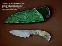 """Bootes ST"" obverse side view in hand-engraved 440C high chromium stainless steel blade, hand-engraved 304 stainless steel bolsters, Green Orbicular Jasper gemstone handle, hand-carved leather sheath"