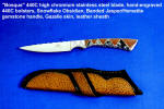 """Bosque"" fine multipurpose knife: stainless steel blade, gemsone mosaic handle, exotic skin sheath"