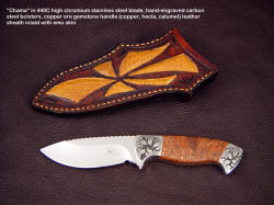"""Chama"" drop point knife with copper ore gemstone handle, exotic inlay sheath"