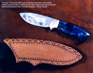 """Chama"" etched knife with gemstone handle, sheath has embroidered lizard skin overlay on laced leather shoulder"