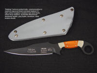 "Custom commemoration on ""Bulldog"" combat knife for Special Operations Forces in engraved bead blasted and hot blued O-1 high carbon tungsten-vanadium tool steel knife blade"