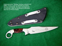 "United States Marine Corps ""Bulldog"" commemorative, graphics and text etched in mirror polished stainless steel knife blade"
