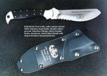 EOD Bomb Tech knife, etched mirror finished blade commemorative, engraved black lacquered brass flashplate on sheath