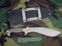 Name engraved into nickel silver bolster of combat knife is deep and permanent