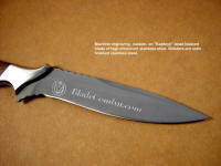 Personalized, commemorative custom engraving by machine on stainless steel knife blade. Knife is combat instructor's grade