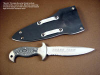 Custom engraved PSD tactical, combat knife blade and stainless steel bolsters