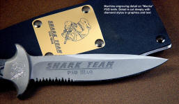 "Custom Machine engraving on blade of PSD knife ""Macha"". Engraving is detailed, custom, and permanent in the blade"