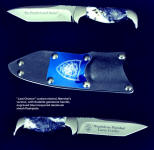 "Marshal's commemorative, personalized ""Last Chance"" knife in etched stainless steel blade, engraved blue lacquered aluminum sheath flashplate"