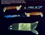 USAF Pararescue commemorative is nickel plated images over nitrate blued steel blade, with green gold electroform