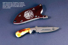 "Paraescue ""Creature"" knife with etched stainless steel blade and engraved co-extruded acrylic sheath front"