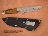 "Highly detailed custom etching in mirror finished knife blade steel of ""Paraeagle"""