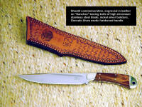 Personlized knife sheath, machine engraved in leather, hand tooled