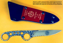 "IAFF edition of ""Shank"" with etched logo on blade, hand-engraved blade, machine engraved red lacquered brass flashplate"