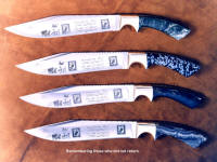 Viet Nam Veterans knives in etched stainless steel blades, remembering those who did not return, POW, MIA