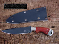 """The Creature"" EL tactical knife, obverse side view, O-1 tungsten vanadium alloy tool steel blade, nickel silver bolsters, redheart hardwood handle, kydex, aluminum, blued steel sheath"