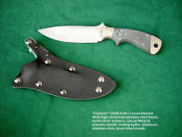 """Creature"" fine tactical, CSAR, combat knife, obverse side view in bead blasted 440C high chromium stainless steel blade, nickel silver bolsters, canvas micarta phenolic handle, locking kydex, aluminum, stainless steel sheath"