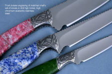 Bolster embellishment: hand-engraved 304 stainless steel with gemstone  handles of this Antheia chef's set