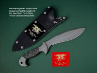 """Horus"" obverse side view in ATS-34 high molydenum stainless steel blade, 304 stainless steel bolsters, engraved, Micarta phenolic handle, locking kydex, aluminum, stainless steel sheath with black lacquered brass engraved flashplate."