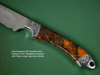 """Magdalena Magnum"" obverse side view in D2 extremely high carbon die steel blade, hand-engraved 304 stainless steel bolsters, Pilbara Picasso Jasper gemstone handle, hand-carved, hand-tooled leather sheat"