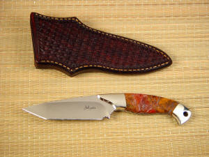 """Alegre"" mirror polished 440C high chromium stainless tool steel blade, nickel silver bolsters, Polvadera Jasper gemstone handle, hand-tooled leather sheath"